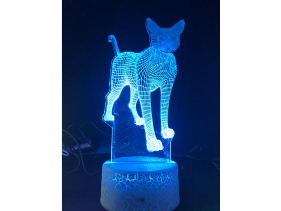 3d Ledlampe - Katt