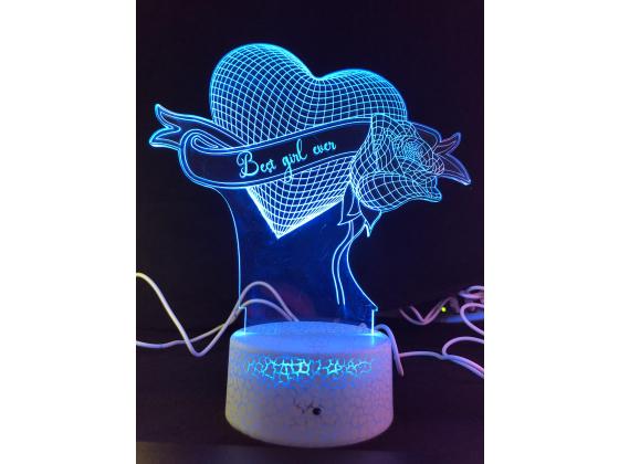 3d Ledlampe - Hjerte med rose
