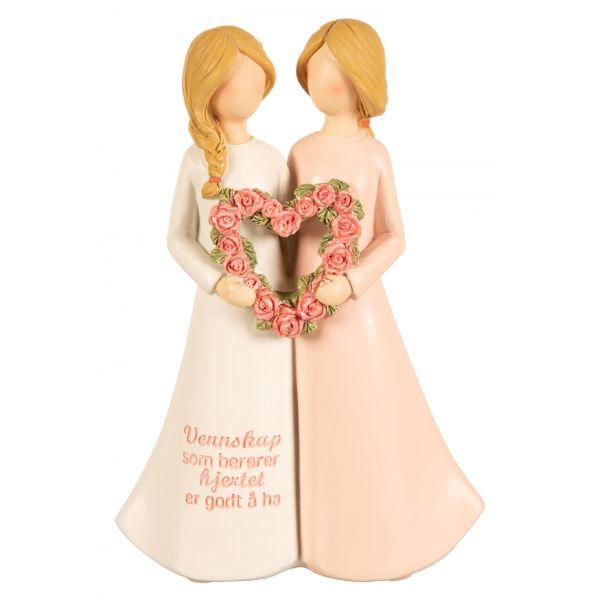 Figur m/hjerte rosa/hvit Vennskap som...