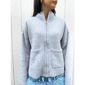 Sia Knit Zipper Cardigan - Arctic Ice
