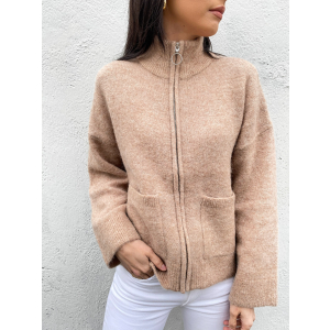 Sia Knit Zipper Cardigan - Nomad