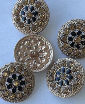 Metall knapp med bling - 22mm