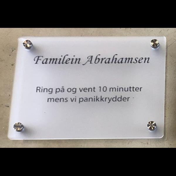 Dørskilt 20x15cm - Panikkrydder - Etternavn