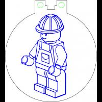 Nøkkelring med ledlys - Lego figur arbeider
