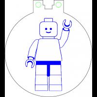 Nøkkelring med ledlys - Lego figur vinkende