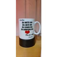Kaffekopp med tekst og navn