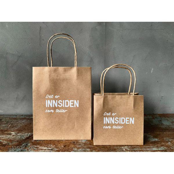 Gavepose stor brun innsiden som teller