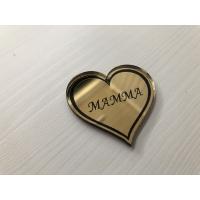 Nøkkelring med gullspeil Mammahjerte