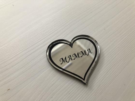Nøkkelring med sølvspeil Mammahjerte