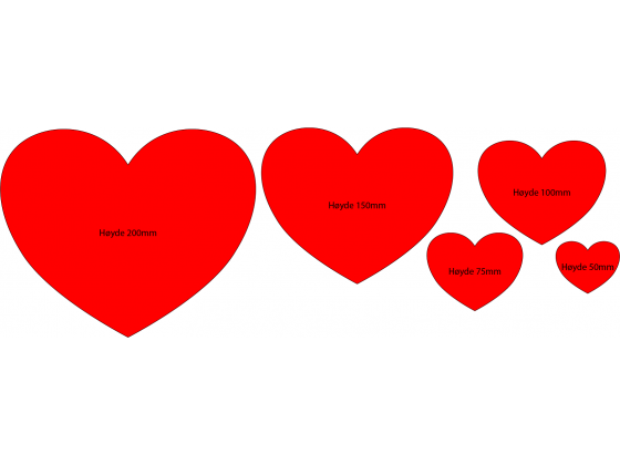 Hjerteform - 7,5cm høyde (4stk)