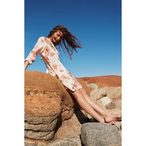 Eva Fleur Linen Dress Peach Melba