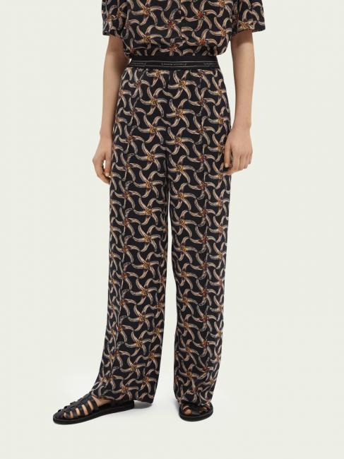 Printed wide leg pant