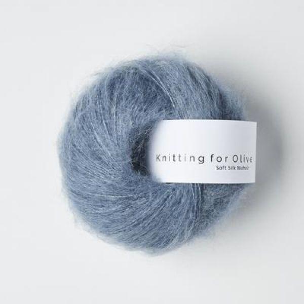 Støvet Dueblå - Soft Silk Mohair - Knitting for Olive