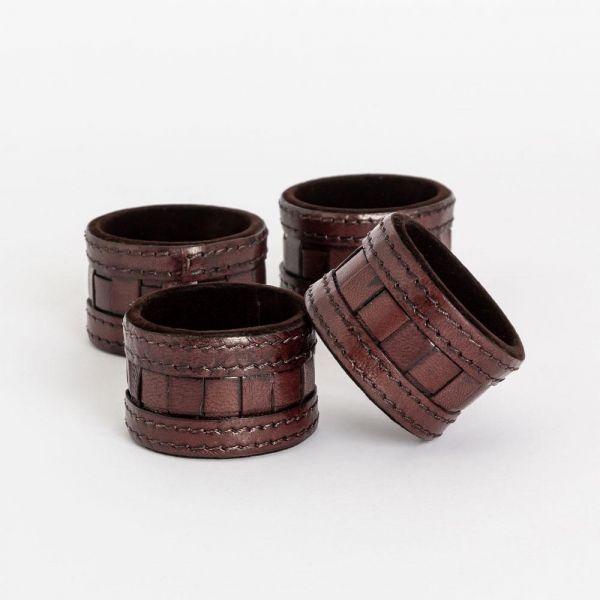 Serviettring skinn brunsort 4pk gaveeske