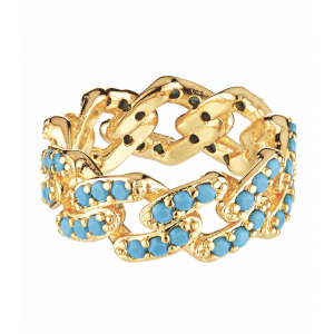 MEXICAN CHAIN RING MYKONOS BLUE