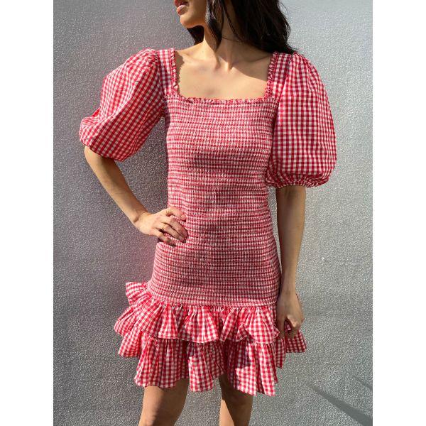 Checks Mini Smocking Dress - Red Checks