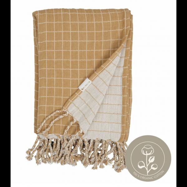 Baby blanket - Grid - Ochre