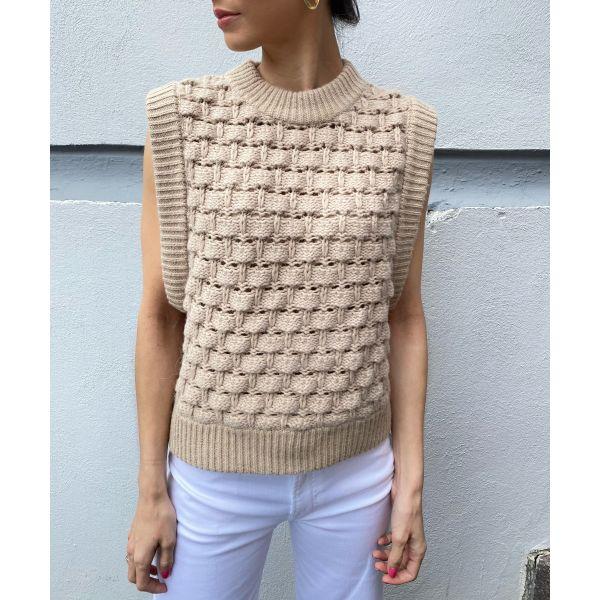 Cotton Knit Vest - Beige