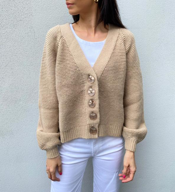 Cotton Knit Jacket - Beige
