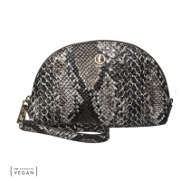 Beauty Case with Wristlet, Brown/Creamy Python