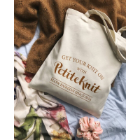 """PetiteKnit - """"GET YOUR KNIT ON""""-tote bag"""