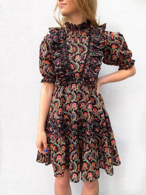 Cotton Slub Mini Frill Dress - Dark Wallpaper