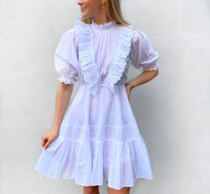 Cotton Slub Mini Frill Dress - White