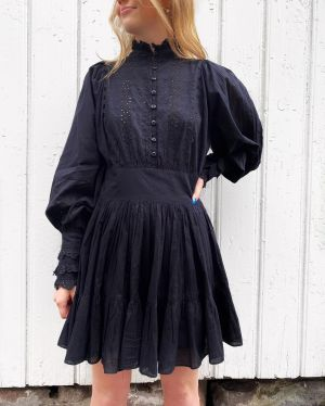 Cotton Slub Mini Dress - Black