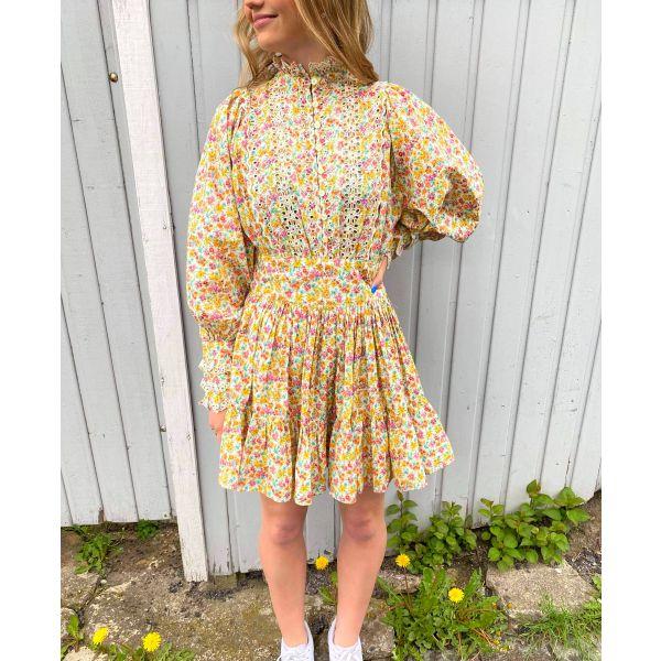 Cotton Slub Mini Dress - Flower Garden