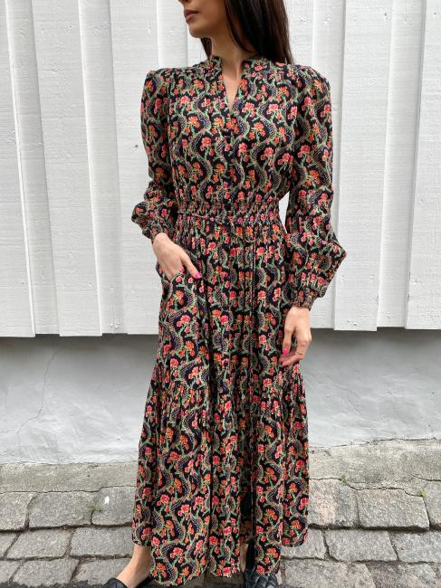 Cotton Slub Midi Dress - Dark Wallpaper