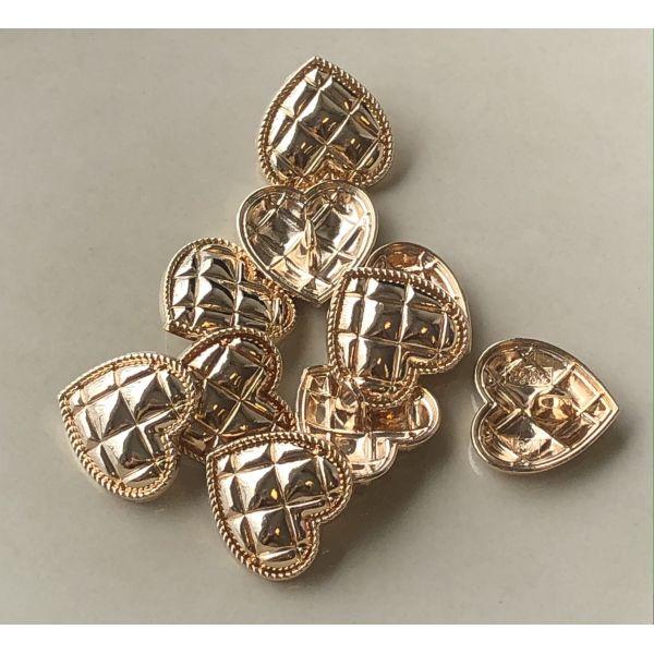 Metall hjerte gull  - 20mm
