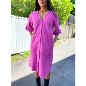 Vanessa 2/4  Leather Shirt Dress - Rose Violet