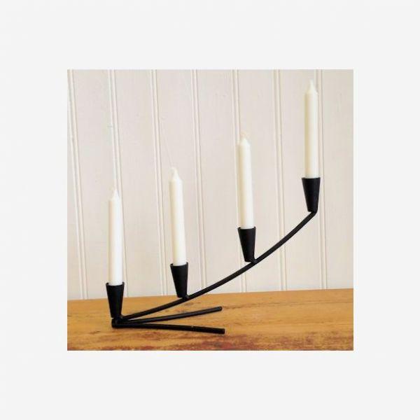 Smijern lysestake konkav40cm sort 4 lys