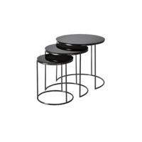 Settbord Cardiff Black / Glass Sett av 3 bord