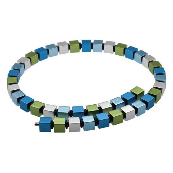 Apero Würfel - Stort blå og grønn halskjede