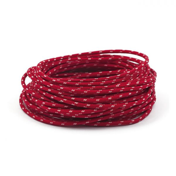 7,5 M.RED/WHITE. CLASSIC CLOTH COVERED WIRING,