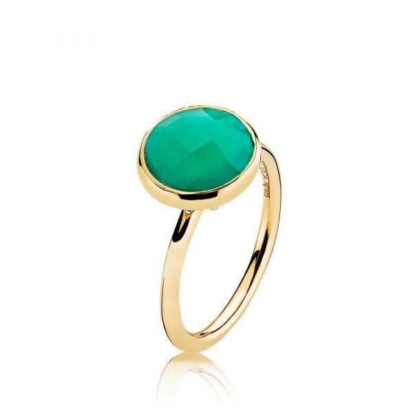 Prima Donna - Ring forgylt Green Onyx