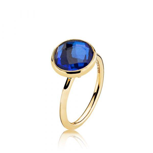 Prima Donna - Ring forgylt Royalblue Crystal