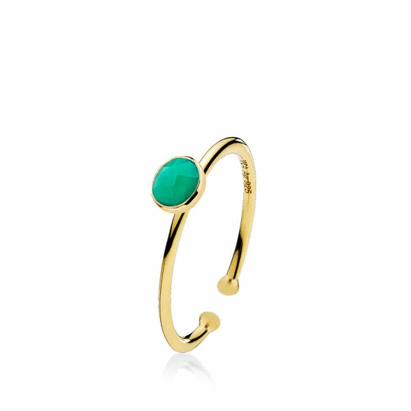 Small Prima Donna - Ring forgylt Green Onyx