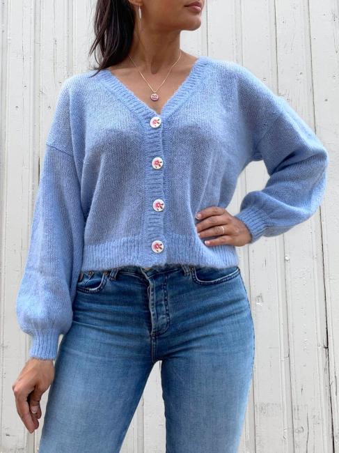 Mohair Knit Jacket - Light blue