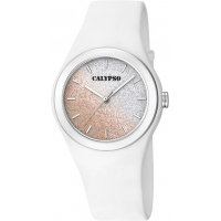 Calypso dameur, glitter rosa-hvit rem/skive