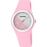 Calypso dameur, glitter hvit-rosa rem/skive