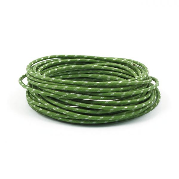 7,5 M.,GREEN/WHITE.  CLASSIC CLOTH COVERED WIRING
