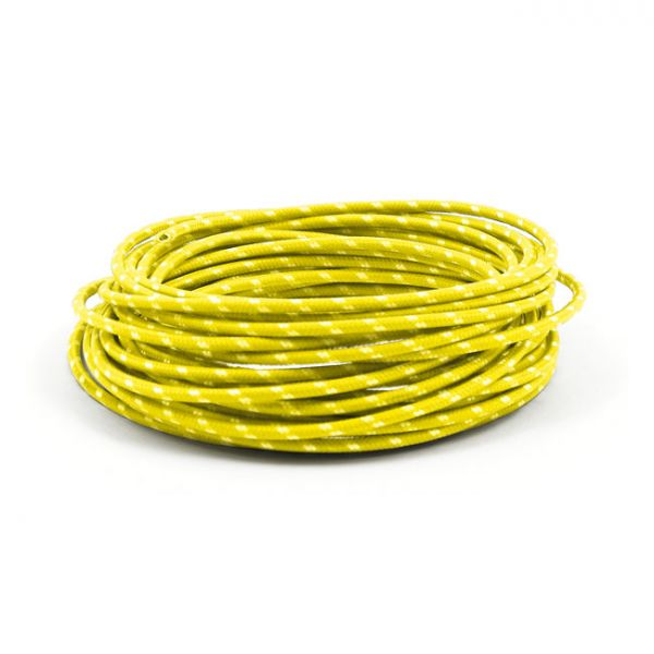 7,5 M. YELLOW/WHITE. CLASSIC CLOTH COVERED WIRING,