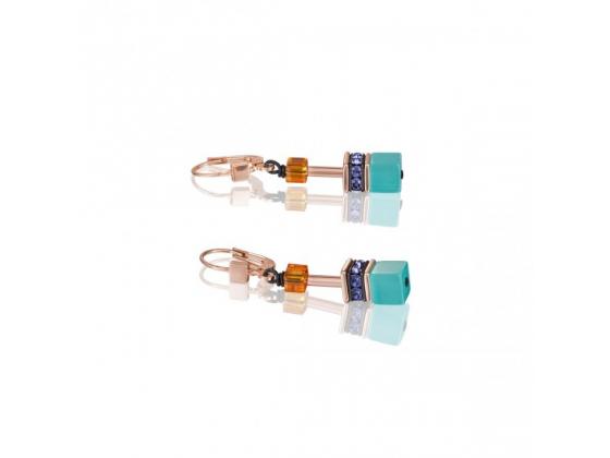GEOCUBE Coral Blue Earrings