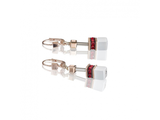 GEOCUBE Red/White Earrings
