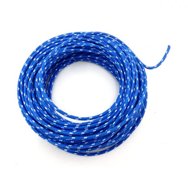 CLASSIC CLOTH COVERED WIRING, 25FT. ROLL. BLUE/WHITE