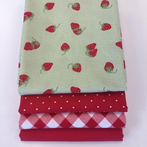 Jordbær stoffpakke 50 cm