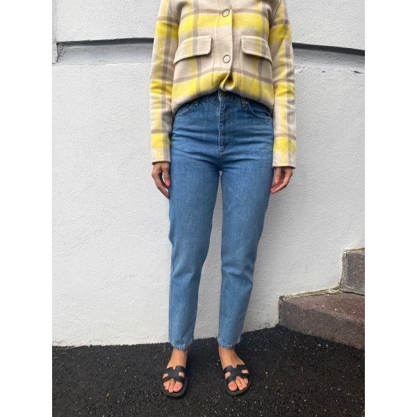 DenaGZ Mom Jeans - Washed Mid Blue