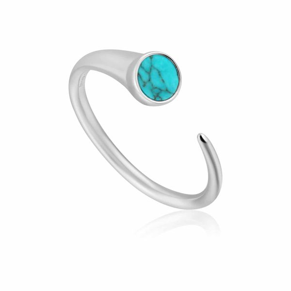 Silver Turquoise Claw Ring